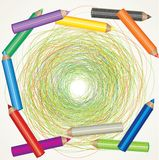Drawing and color pencils Stock Photography