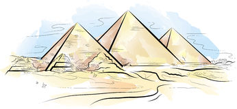 Drawing color piramids and desert in Giza, Egypt Stock Photography