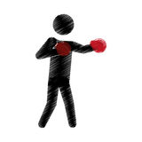 Drawing colored silhouette man boxing gloves posing Royalty Free Stock Photos