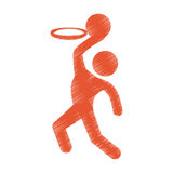 Drawing colored silhouette man player basketball Stock Images