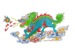 Drawing of colorful Chinese dragon. With fire on white background Royalty Free Stock Images