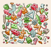 Drawing Colorful Doodle Items. Vector Illustration for Cover Design Stock Image