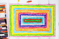 Drawing: colorful rectangles. Drawing and oil pastels crayons : colorful rectangles stock illustration