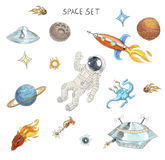 Drawing of colorful space objects: astronaut, alien, ufo, spaceship, comet, planets and stars. Stock Photos