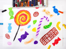 Drawing: colorful sweets Stock Photography