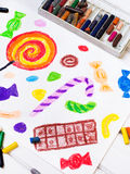 Drawing: colorful sweets Royalty Free Stock Photography