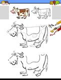 Drawing and coloring activity with milker cow. Cartoon Illustration of Drawing and Coloring Educational Activity for Children with Milker Cow Farm Animal Royalty Free Stock Photos