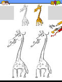 Drawing and coloring worksheet with giraffe Royalty Free Stock Photos