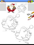 Drawing and coloring worksheet with Santa Claus vector illustration