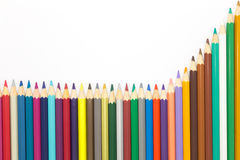 Drawing colors pencils on white backgroundColorful wooden pencils on white background Royalty Free Stock Photo