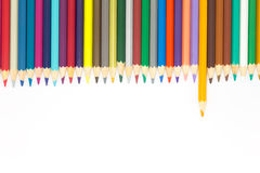 Drawing colors pencils on white backgroundColorful wooden pencils on white backgroundMultiple colors wooden pencils on white backg Stock Photo