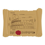 Drawing of Colosseum at Ancient scroll. Retro Scheme of ancient Royalty Free Stock Photography