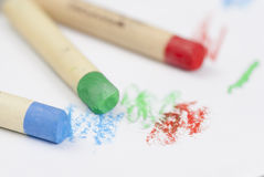 Drawing with Coloured Crayons. Royalty Free Stock Images