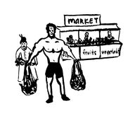 Drawing of a comic cartoon picture pumped by an athletic man helps to carry bags from the market to an elderly woman,  hand. Drawing of a comic cartoon picture Stock Photo
