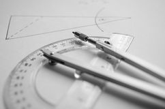 Drawing Compass and geometry ruler Stock Image