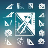 Drawing compass icon set. Vector Royalty Free Stock Photo