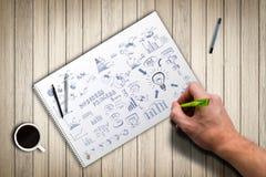 Drawing a complex idea process Stock Photos
