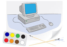 Drawing computer Royalty Free Stock Photo