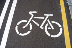 Drawing of a contour of a bicycle. On asphalt Stock Image