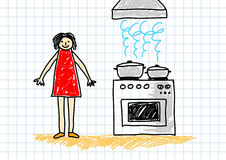 Drawing of cooking Royalty Free Stock Images