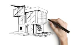 Drawing cottage. Hand drawing cottage on a white background stock images
