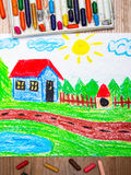 Drawing : country house. Oil pastels drawing : country house Royalty Free Stock Images
