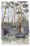 A drawing of the countryside. A car at the garage in nature. royalty free illustration