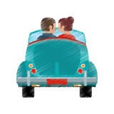 Drawing couple car classic travel Stock Photo