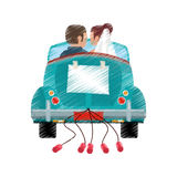 Drawing couple car classic wedding Stock Images