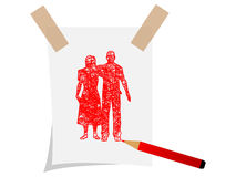 Drawing couple on paper. Drawing couple on white paper Royalty Free Stock Photo