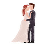 Drawing couple romantic wedding dresses Royalty Free Stock Photography