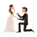 Drawing couple romantic wedding dresses Royalty Free Stock Photos