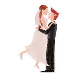 Drawing couple romantic wedding dresses Royalty Free Stock Images