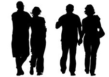 Drawing couples. Silhouettes on white background Stock Images