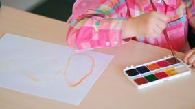 Drawing courses talented children art school. Drawing courses for talented children. art school lessons. creation process Royalty Free Stock Image