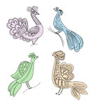 Drawing craft birds silhouettes Royalty Free Stock Photo