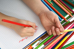 Drawing and crayons Stock Photo