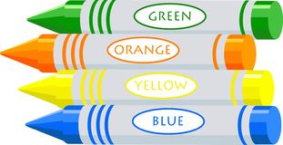 Drawing crayons. Coloured wax drawing crayons, green, orange, yellow and blue Stock Image