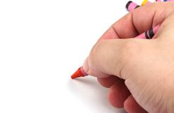 Drawing with crayons Royalty Free Stock Images