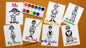 Drawing and creativity. My family. Father, mother, grandparents, siblings and me. Figures on paper. The paint tools. Working plane. And background. Vector Stock Images