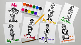 Drawing and creativity. My family. Father, mother, grandparents, siblings and me. Figures on paper. The paint tools. Working plane vector illustration