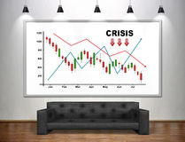 Drawing crisis chart on banner. Black sofa in loft room Stock Images