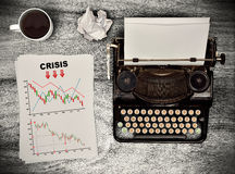 Drawing crisis chart on paper Stock Images