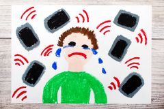 Drawing: Crying boy surrounded by phones or tablets. Danger of social media. Photo of colorful drawing: Crying boy surrounded by phones or tablets. Danger of vector illustration