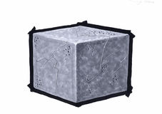 Drawing the cube. Concrete cube, on white background Royalty Free Stock Image