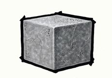 Drawing the cube. Concrete cube, on white background Stock Photo