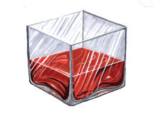 Drawing the cube. Cube glass red liquid on white background Royalty Free Stock Photos