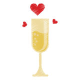 Drawing cup glass champagne love celebration Stock Image