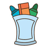 Drawing cup with various colores markers school Royalty Free Stock Photo