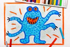 Drawing: Cute blue monster with four hands. Colorful drawing: Cute blue monster with four hands and orange eyes stock image
